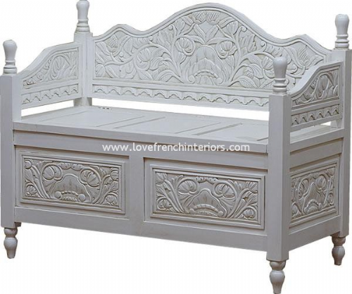 Monks Bench with Storage in Antique White